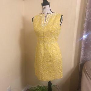 Tahari Embellished Yellow Dress